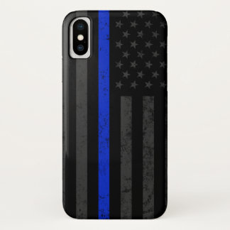 Dark Distressed Police Style American Flag iPhone X Case