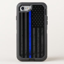 Dark Distressed Police Style American Flag OtterBox Defender iPhone 8/7 Case