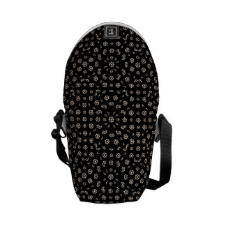 Dark Ditsy Floral Pattern Messenger Bag