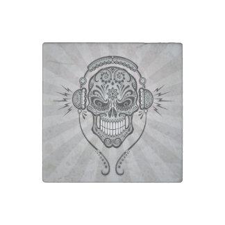 Dark DJ Sugar Skull with Rays of Light Stone Magnet