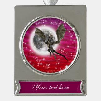 Dark Dragon Silver Plated Banner Ornament