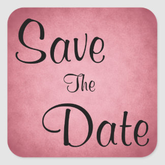 Dark Dusky Pink Mottled Pattern Save The Date Square Sticker