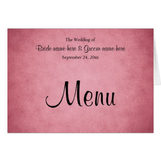 Dark Dusky Pink Mottled Pattern Wedding Menu Stationery Note Card