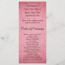 Dark Dusky Pink Mottled Pattern Wedding Program
