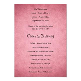 Dark Dusky Pink Mottled Pattern Wedding Program Card