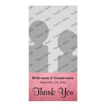 Dark Dusky Pink Mottled Pattern Wedding Thank You Card