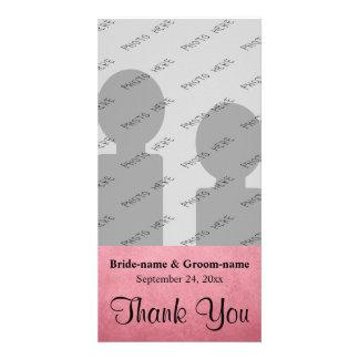 Dark Dusky Pink Mottled Pattern Wedding Thank You Card