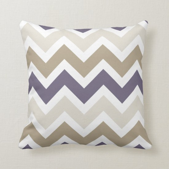 Dark Dusty Purple Ivory and Brown Chevron Throw Pillow
