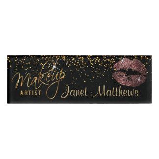 Dark Dusty Rose Glitter Lips and Elegant Gold Name Tag
