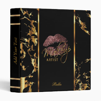 Dark Dusty Rose Glitter Lips and Gold Marble 3 Ring Binder