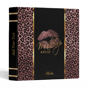 Professional Business Dark Dusty Rose Glitter Lips and Leopard Binder