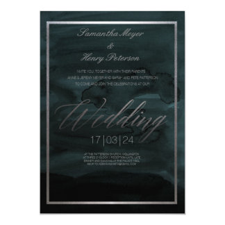 Dark Elegant Abstract Landscape Wedding Invitation