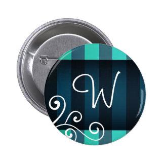Dark Elegant aquamarine decor  monogram Pinback Button