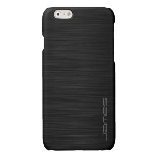 dark elegant perforated metal personalized by name glossy iPhone 6 case
