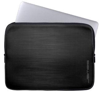dark elegant perforated metal personalized by name laptop computer sleeve