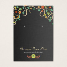 Dark Elegant Swirl Floral Earring Cards at Zazzle