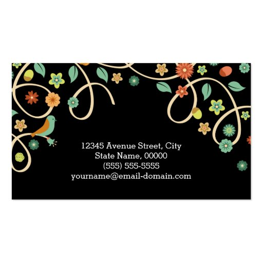 Dark Elegant Swirl Floral Tree and Bird Business Cards (back side)