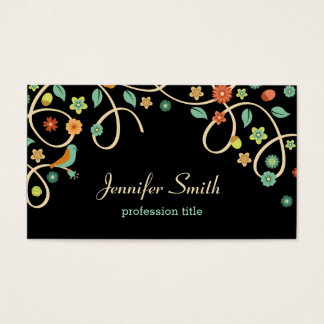Dark Elegant Swirl Floral Tree and Bird Business Card