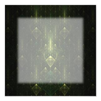 Dark Emerald Green Faces. Fractal Art. Card