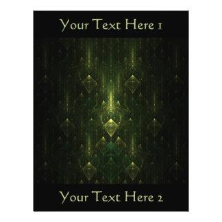 Dark Emerald Green Faces. Fractal Art. Flyer