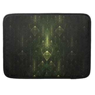 Dark Emerald Green Faces Fractal Art MacBook Pro Sleeves