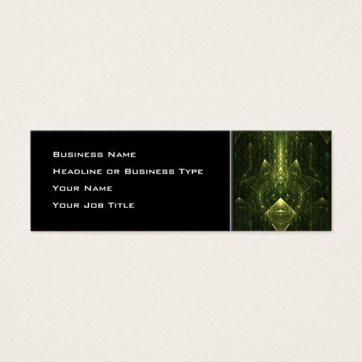 Dark Emerald Green Faces. Fractal Art. Mini Business Card