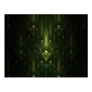 Dark Emerald Green Faces. Fractal Art. Postcard