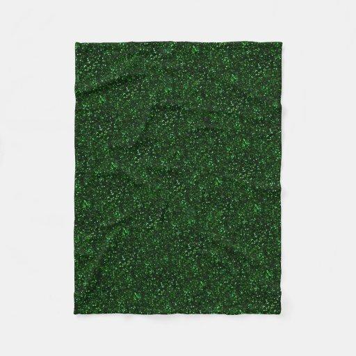 Dark emerald green glitter fleece blanket zazzle - Emerald green throw blanket ...