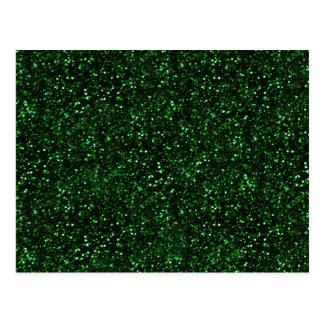 Dark Emerald Green Glitter Postcard