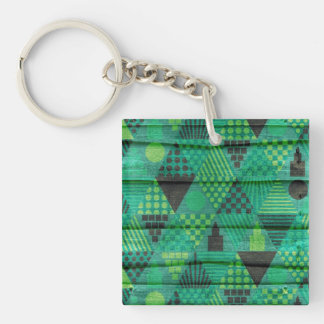 Dark Emerald Green Triangle Pattern Keychain