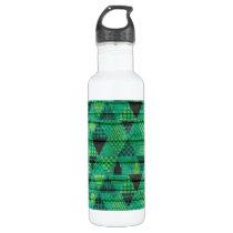 Dark Emerald Green Triangle Pattern Water Bottle