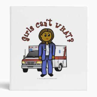 Dark EMT Paramedic Girl 3 Ring Binders