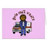 Dark EMT Paramedic Girl Greeting Card