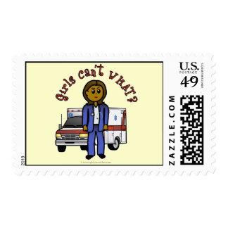 Dark EMT Paramedic Girl Stamp