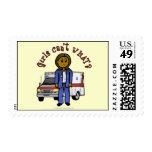 Dark EMT Paramedic Girl Stamps