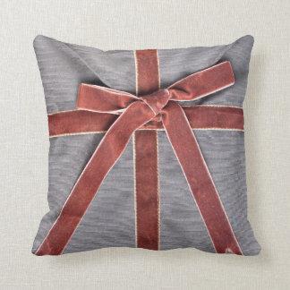 Dark envelope with velvet ribbon throw pillow