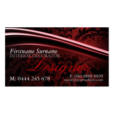 Dark Exotica Damask Designer Business Card