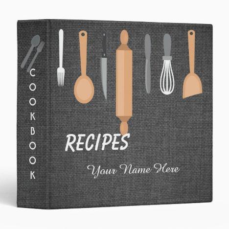 Dark Fabric Kitchen utensils recipe binder book