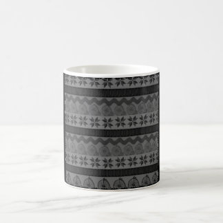 "Dark ""fair isle"" patterned vintage back mug"