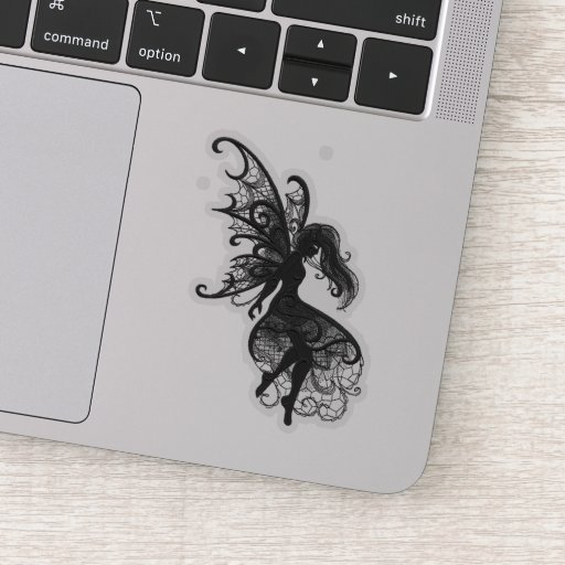 Dark Fairy Flowing Hair Laptop Cutout Vinyl Sticker
