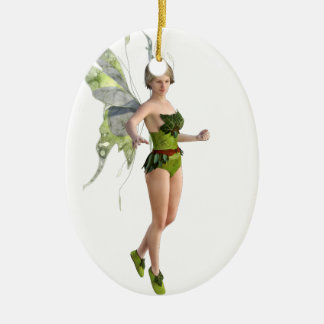 Dark Fairy Flying in Place Ceramic Ornament