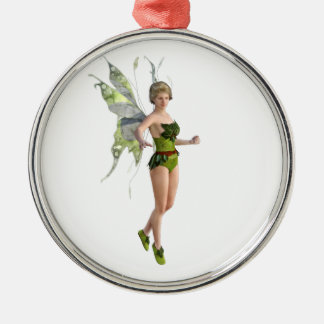 Dark Fairy Flying in Place Metal Ornament