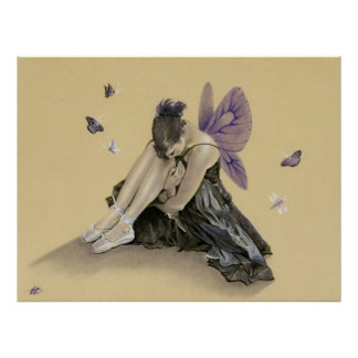 Dark Fairy purple wings Poster