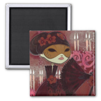 Dark Fairy Tale Character 10 - Masked Lady 2 Inch Square Magnet