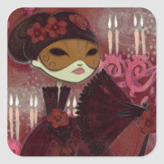 Dark Fairy Tale Character 10 - Masked Lady Square Sticker