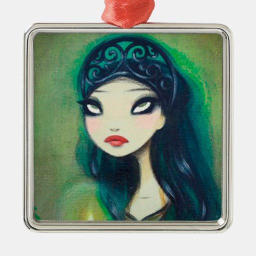 Dark Fairy Tale Character 17 Square Metal Christmas Ornament
