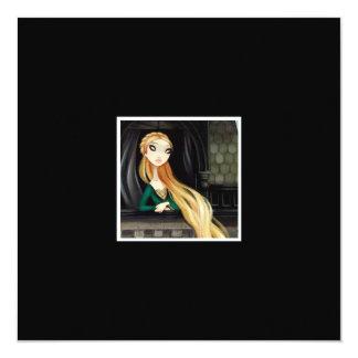 Dark Fairy Tale Character 2 - Rapunzel 5.25x5.25 Square Paper Invitation Card
