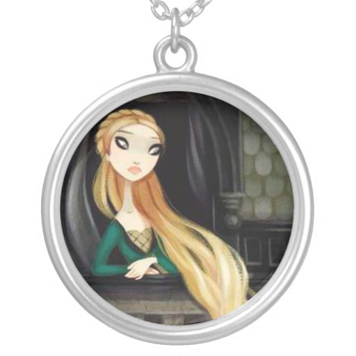 Dark Fairy Tale Character 2 - Rapunzel Round Pendant Necklace