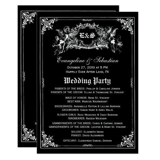Dark Fairy Tale Storybook Wedding Programs