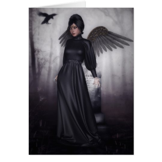 Dark Fallen Angel Halloween greeting card
